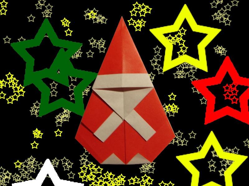 Oriya小町さんによるサンタクロース(ドロップ型)の折り紙