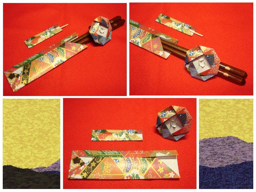 Oriya小町さんによる和のおもてなしセット〜箸袋・楊枝入れ・椿の箸飾り〜の折り紙