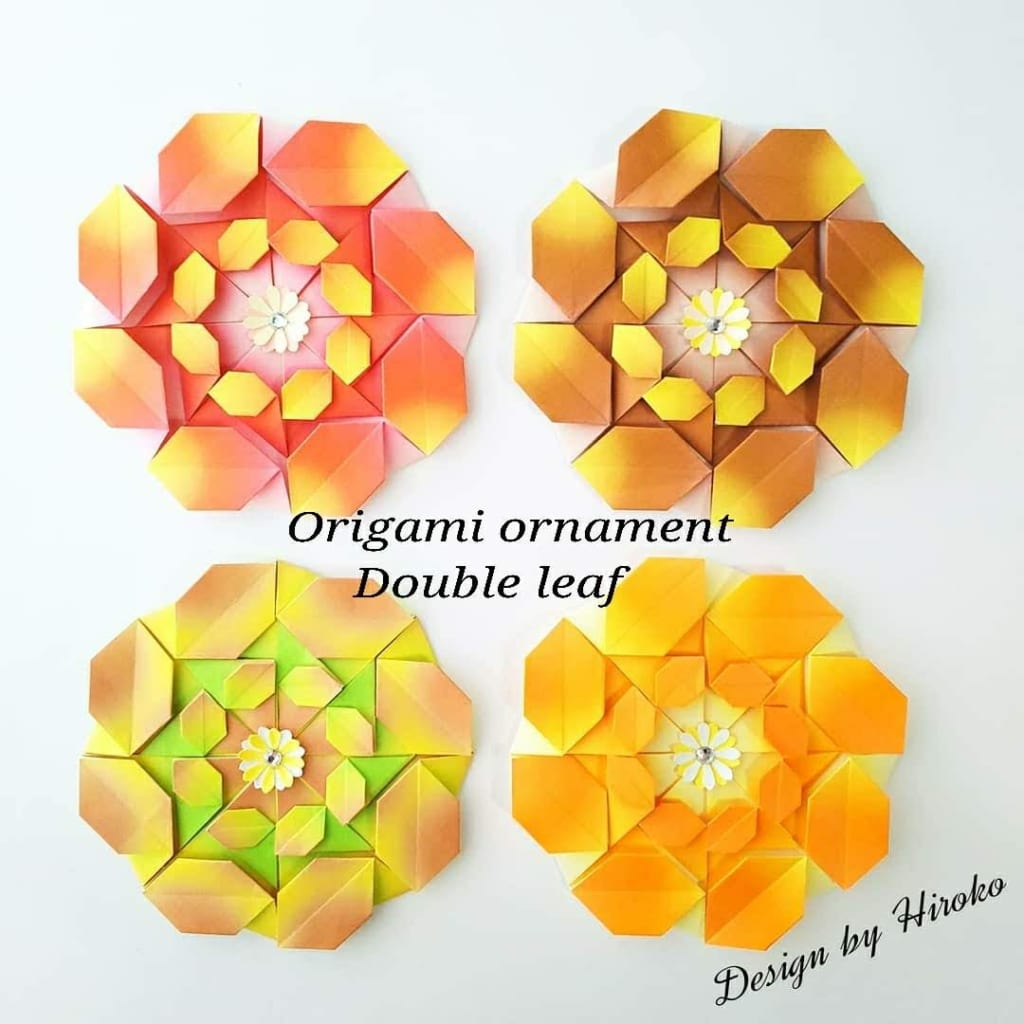 hiroko_daichanさんによるダブルリーフのオーナメントの折り紙