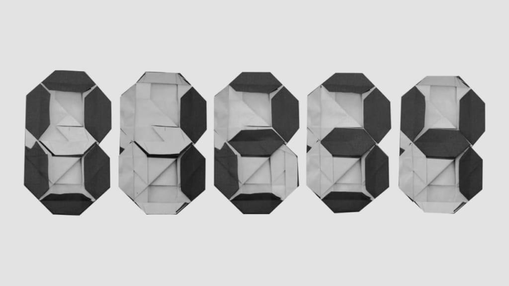 ハディさんによる7セグメントディスプレイの折り紙