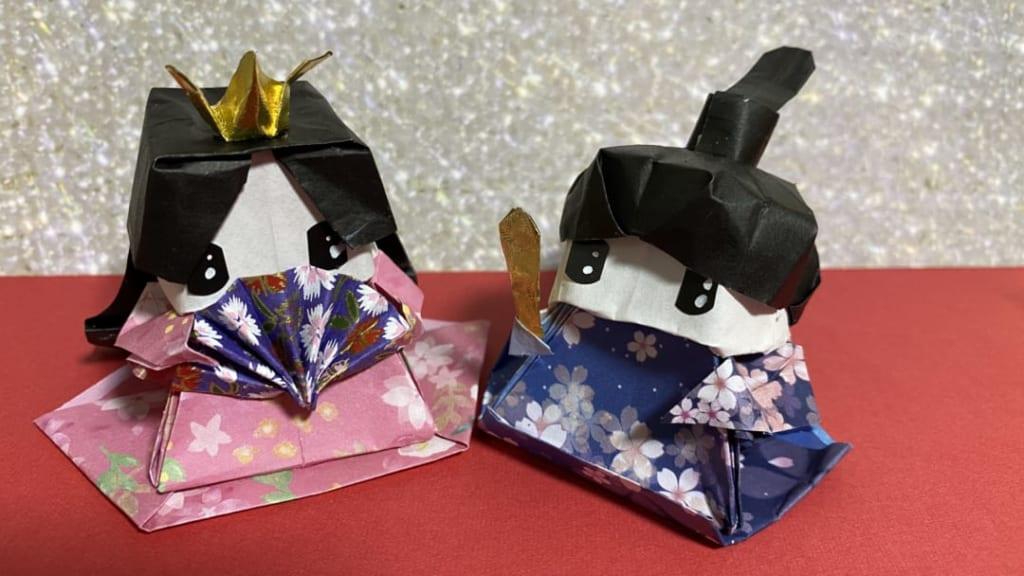 だ〜ちゃんさんによる立体 ひな人形の折り紙