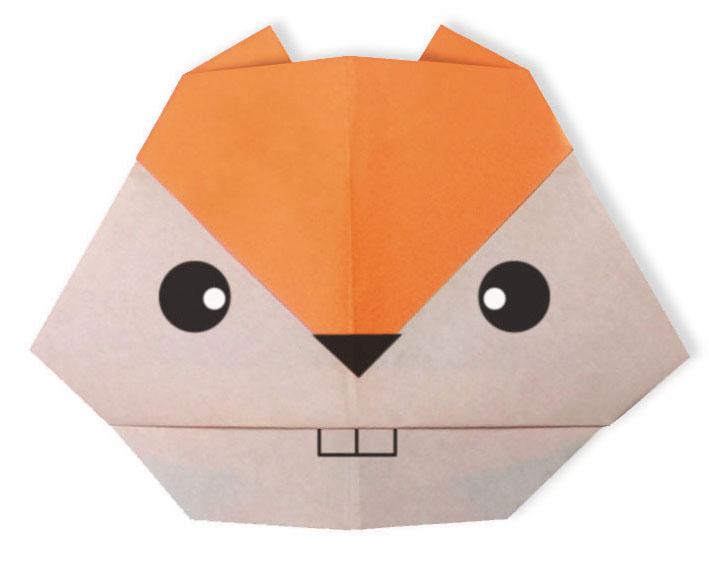 おりがみくらぶ(新宮文明)さんによるりす(かお)の折り紙