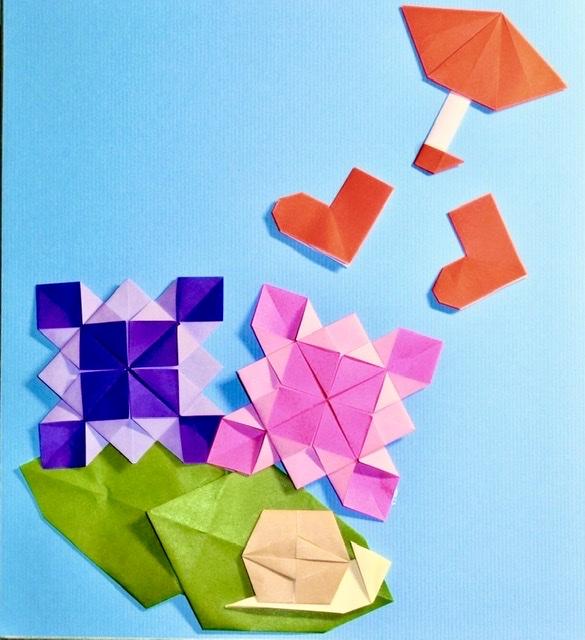 竹内ケイさんによるアジサイの折り紙