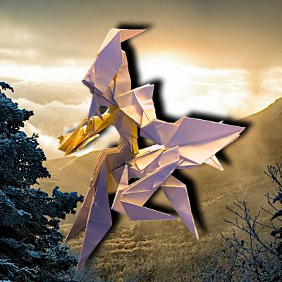 りょうすけ@組み立て折神工房Assembly Origami Workshopさんによる作品No.363「韋駄天龍スカンダ」 22枚の折り紙