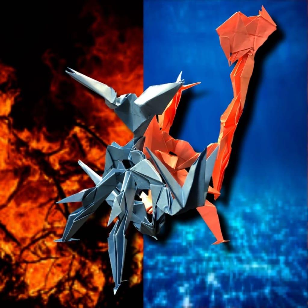りょうすけ@組み立て折神工房Assembly Origami Workshopさんによる作品No.362「両面宿儺」 38枚の折り紙