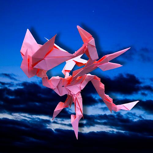 りょうすけ@組み立て折神工房Assembly Origami Workshopさんによる「アスタ・ラ・ビスタ」 24枚の折り紙