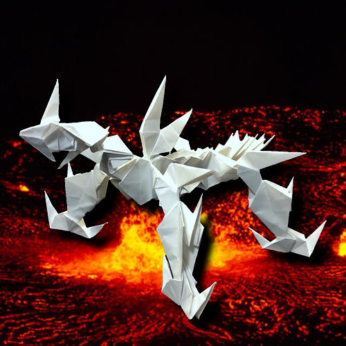 りょうすけ@組み立て折神工房Assembly Origami Workshopさんによる「真珠龍パーライト」 28枚の折り紙