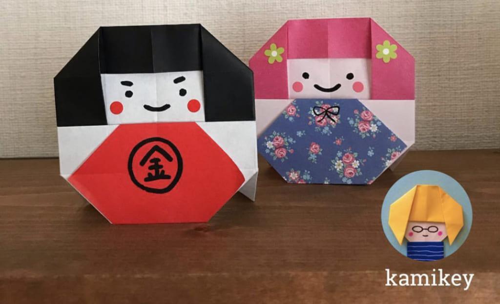 カミキィさんによる金太郎だるま(折り図)の折り紙