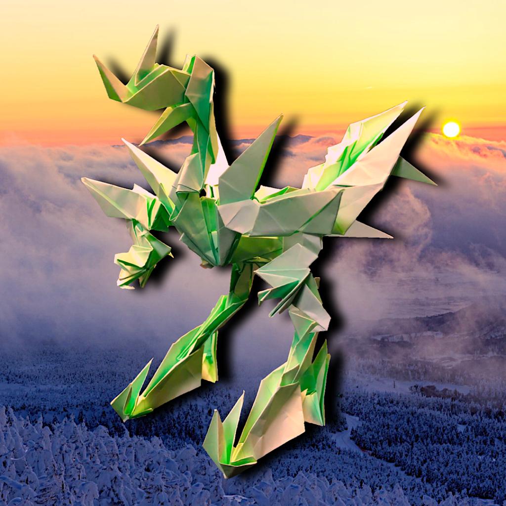 りょうすけ@組み立て折神工房Assembly Origami Workshopさんによる「天災龍ディザスター」 32枚の折り紙