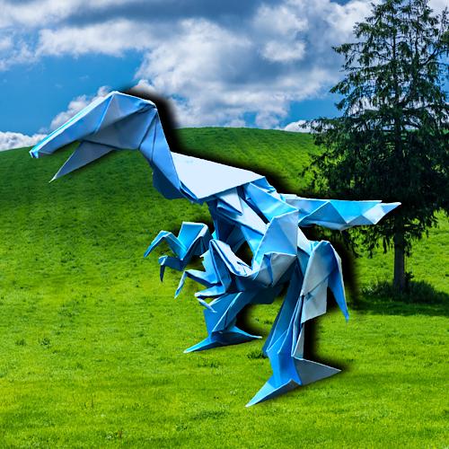 りょうすけ@組み立て折神工房Assembly Origami Workshopさんによる「クリンゲ・ラプトル」 15枚の折り紙