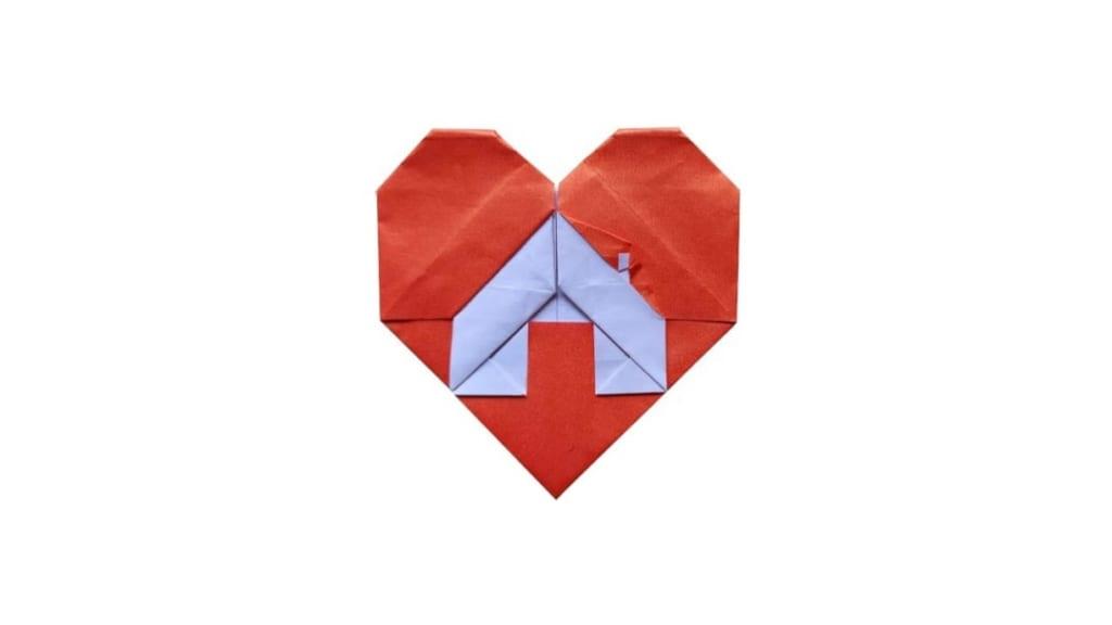 ハディさんによる家トハートの折り紙