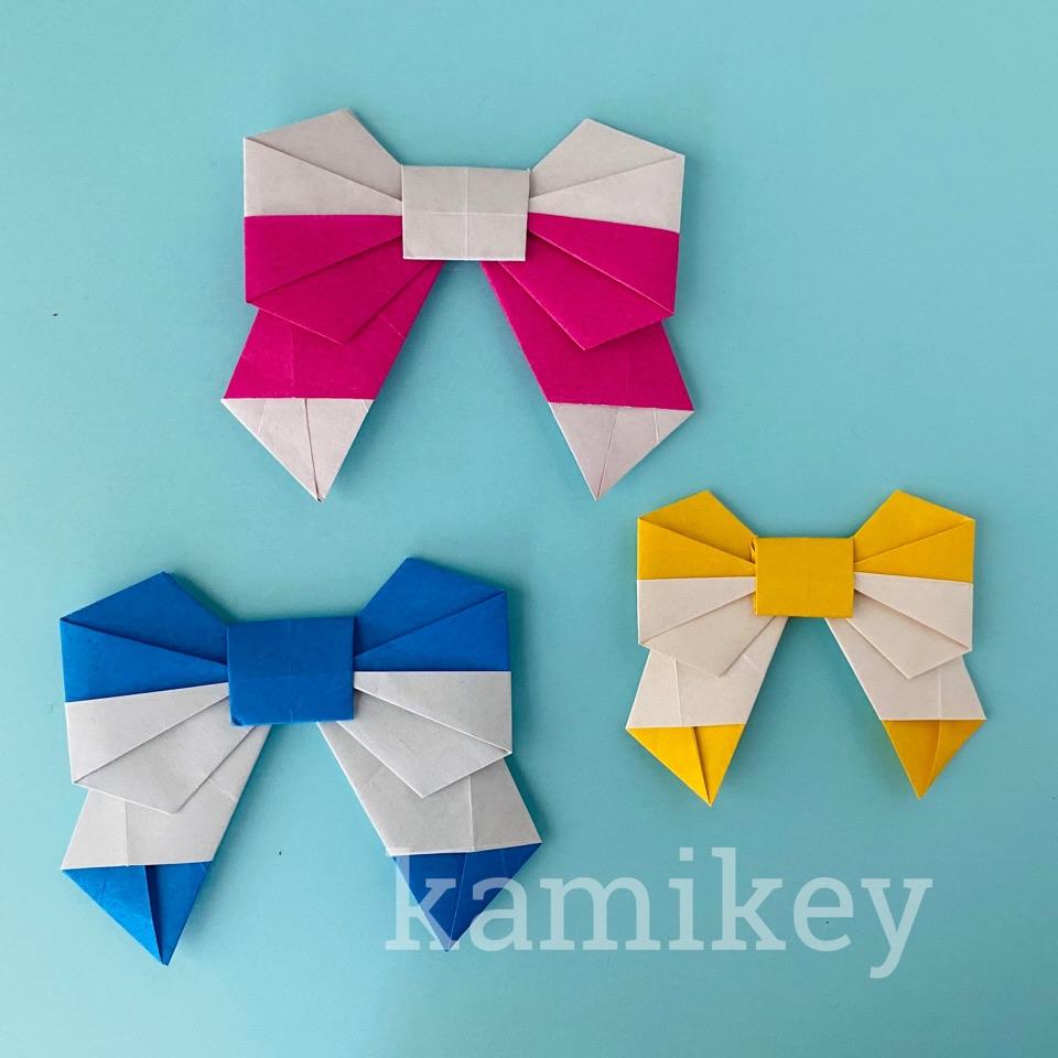 カミキィさんによる2色リボンの折り紙