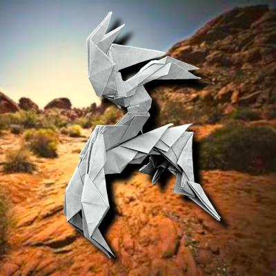 りょうすけ@組み立て折神工房Assembly Origami Workshopさんによる作品No.365「機械騎兵」 15枚の折り紙