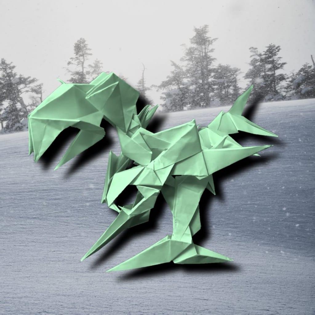 りょうすけ@組み立て折神工房Assembly Origami Workshopさんによる作品No.357「滑雪龍ドランスキー」15枚の折り紙