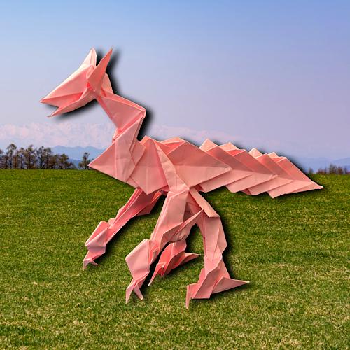 りょうすけ@組み立て折神工房Assembly Origami Workshopさんによる「ピックス・ドラゴン」 19枚の折り紙