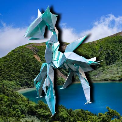 りょうすけ@組み立て折神工房Assembly Origami Workshopさんによる作品No.364「自粛龍リストレント」 23枚の折り紙
