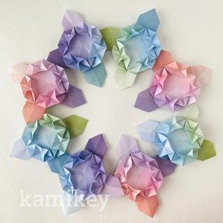 カミキィさんによるあじさいリースの折り紙