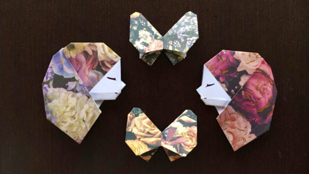 Oriya小町さんによる少女の横顔の折り紙