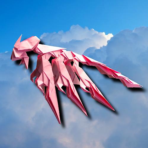 りょうすけ@組み立て折神工房Assembly Origami Workshopさんによる「滑空龍モマ」 22枚の折り紙