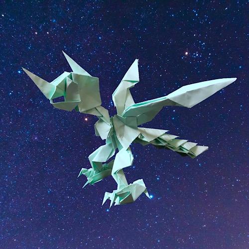 りょうすけ@組み立て折神工房Assembly Origami Workshopさんによる「緑龍星エスカマリ」 18枚の折り紙