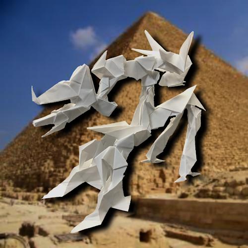 りょうすけ@組み立て折神工房Assembly Origami Workshopさんによる「骨纏者ベアレール」 23枚の折り紙