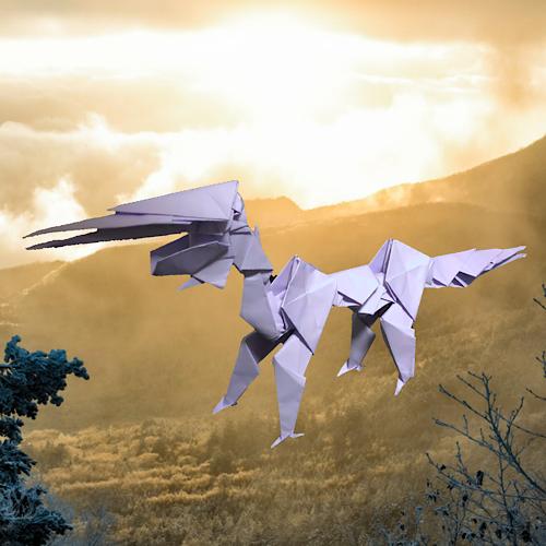 りょうすけ@組み立て折神工房Assembly Origami Workshopさんによる「神器龍ムラクモ」 18枚の折り紙