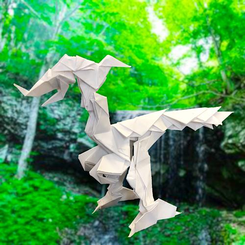 りょうすけ@組み立て折神工房Assembly Origami Workshopさんによる「エブラテル・サウルス」 16枚の折り紙