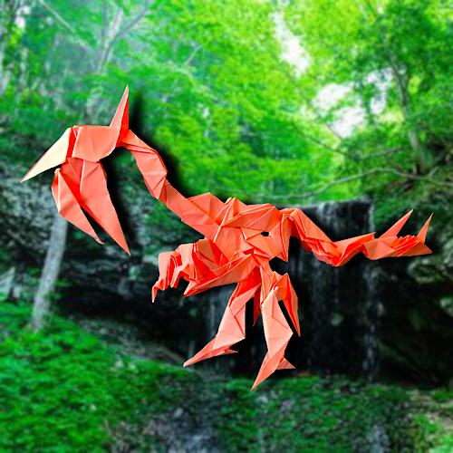 りょうすけ@組み立て折神工房Assembly Origami Workshopさんによる「末永龍スエナガク」 21枚の折り紙