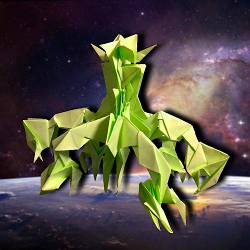 りょうすけ@組み立て折神工房Assembly Origami Workshopさんによる「小星体ヒギエア」 22枚の折り紙