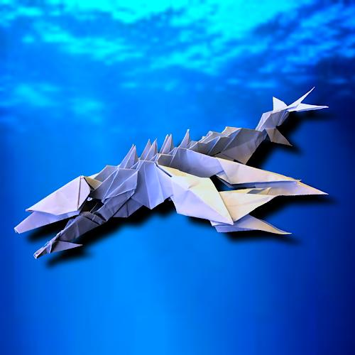りょうすけ@組み立て折神工房Assembly Origami Workshopさんによる「海統龍トリアイナ」 25枚の折り紙