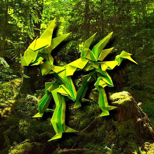 りょうすけ@組み立て折神工房Assembly Origami Workshopさんによる「甲賀龍ジネン」 25枚の折り紙