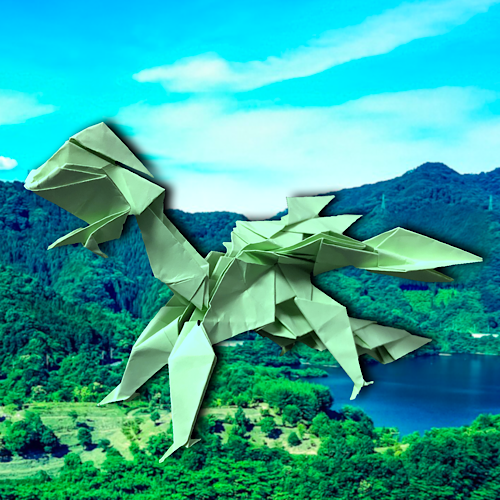 りょうすけ@組み立て折神工房Assembly Origami Workshopさんによる「ティトロピウス」 16枚の折り紙