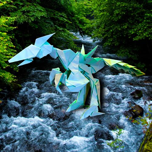 りょうすけ@組み立て折神工房Assembly Origami Workshopさんによる「掻回龍ランザック」 20枚の折り紙