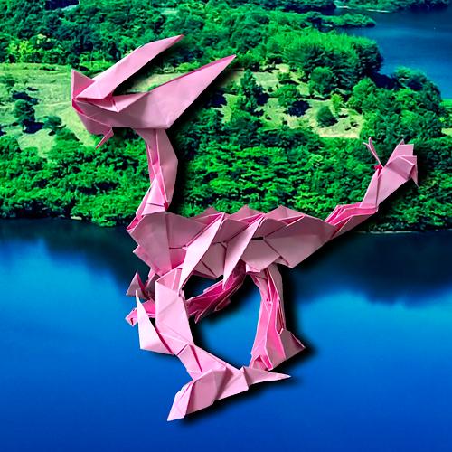 りょうすけ@組み立て折神工房Assembly Origami Workshopさんによる「瘤角龍ハンプホーン」 19枚の折り紙