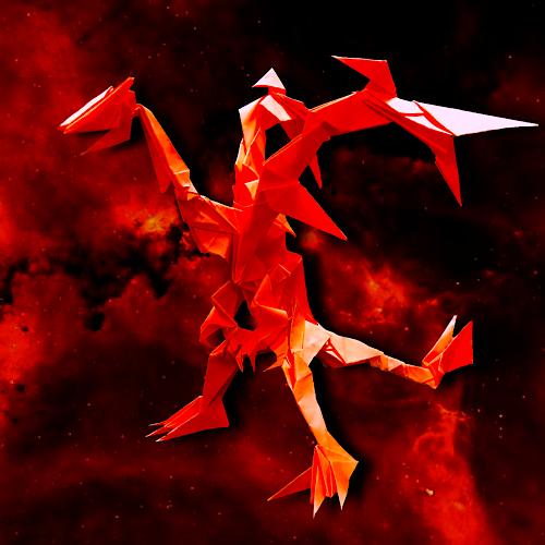 りょうすけ@組み立て折神工房Assembly Origami Workshopさんによる「ファースト・ドラグーン」 25枚の折り紙