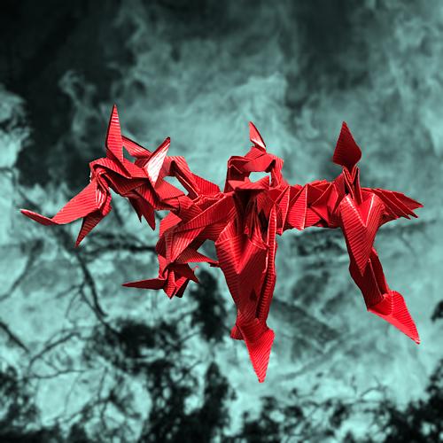 りょうすけ@組み立て折神工房Assembly Origami Workshopさんによる「紅蓮ノ龍」 37枚の折り紙