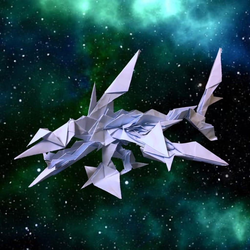 りょうすけ@組み立て折神工房Assembly Origami Workshopさんによる「極光鮫オーロラ・シャーク」 31枚の折り紙