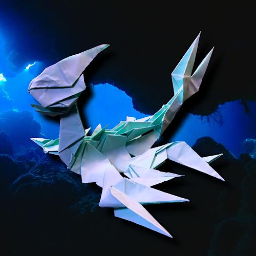 りょうすけ@組み立て折神工房Assembly Origami Workshopさんによる「長脛龍エラスモス」 19枚の折り紙