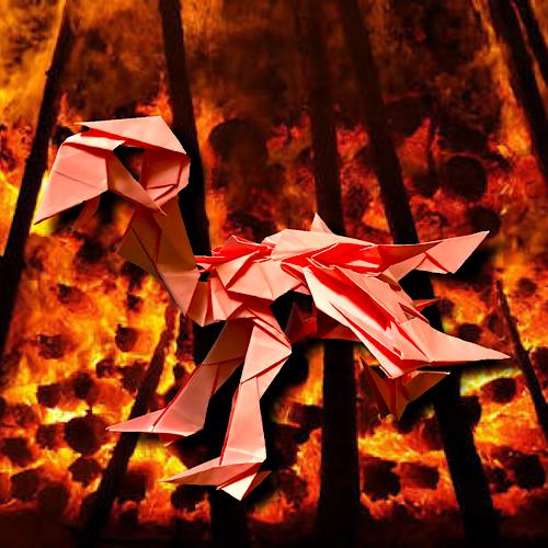 りょうすけ@組み立て折神工房Assembly Origami Workshopさんによる「午葵龍アルビドス」 25枚の折り紙