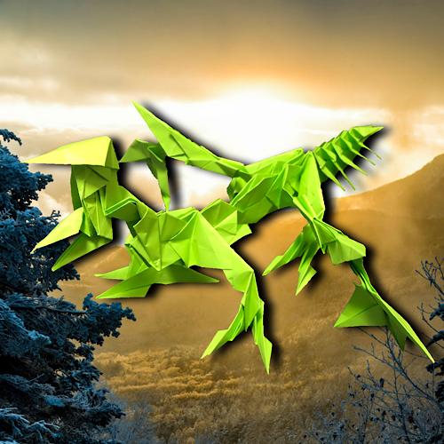 りょうすけ@組み立て折神工房Assembly Origami Workshopさんによる「菩提龍ティロキオン」 31枚の折り紙