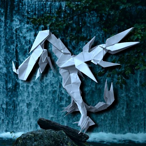 りょうすけ@組み立て折神工房Assembly Origami Workshopさんによる「シャワーヘッド・ドラゴン」 23枚の折り紙