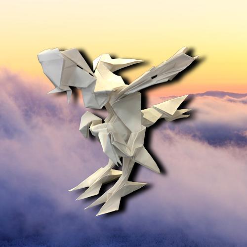 りょうすけ@組み立て折神工房Assembly Origami Workshopさんによる「白濁龍シロカブセ」 18枚の折り紙