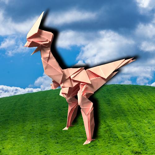 りょうすけ@組み立て折神工房Assembly Origami Workshopさんによる「アモルファス・サウルス」 10枚の折り紙