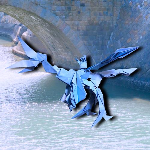 りょうすけ@組み立て折神工房Assembly Origami Workshopさんによる「運河龍ナロウ」 24枚の折り紙