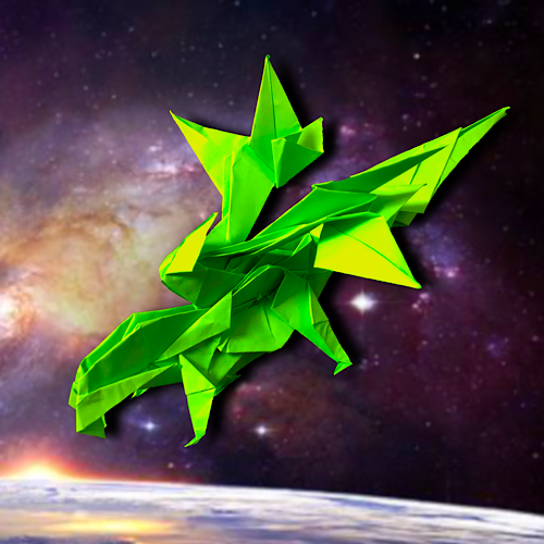 りょうすけ@組み立て折神工房Assembly Origami Workshopさんによる「箒星龍コメット」 15枚の折り紙