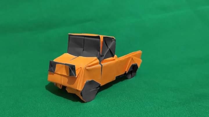 ハディさんによるピックアップトラックの折り紙