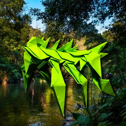 りょうすけ@組み立て折神工房Assembly Origami Workshopさんによる「吸甲虫アロインバイブ」 19枚の折り紙
