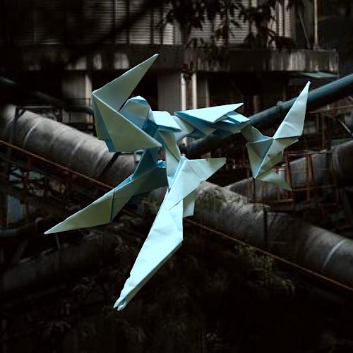 りょうすけ@組み立て折神工房Assembly Origami Workshopさんによる「蒼白のラス」 10枚の折り紙