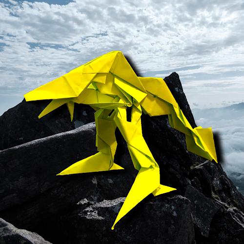 りょうすけ@組み立て折神工房Assembly Origami Workshopさんによる「砂崩龍スナスベリ」 12枚の折り紙