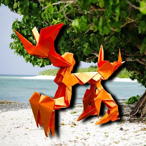 りょうすけ@組み立て折神工房Assembly Origami Workshopさんによる「シャウヘル」 16枚の折り紙